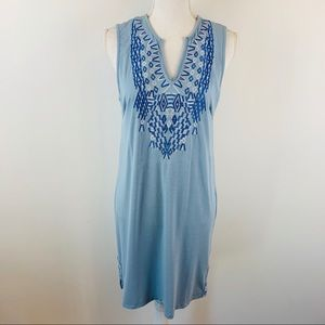 Thyme & Honey Anthropologie Blue Embroidered Dress